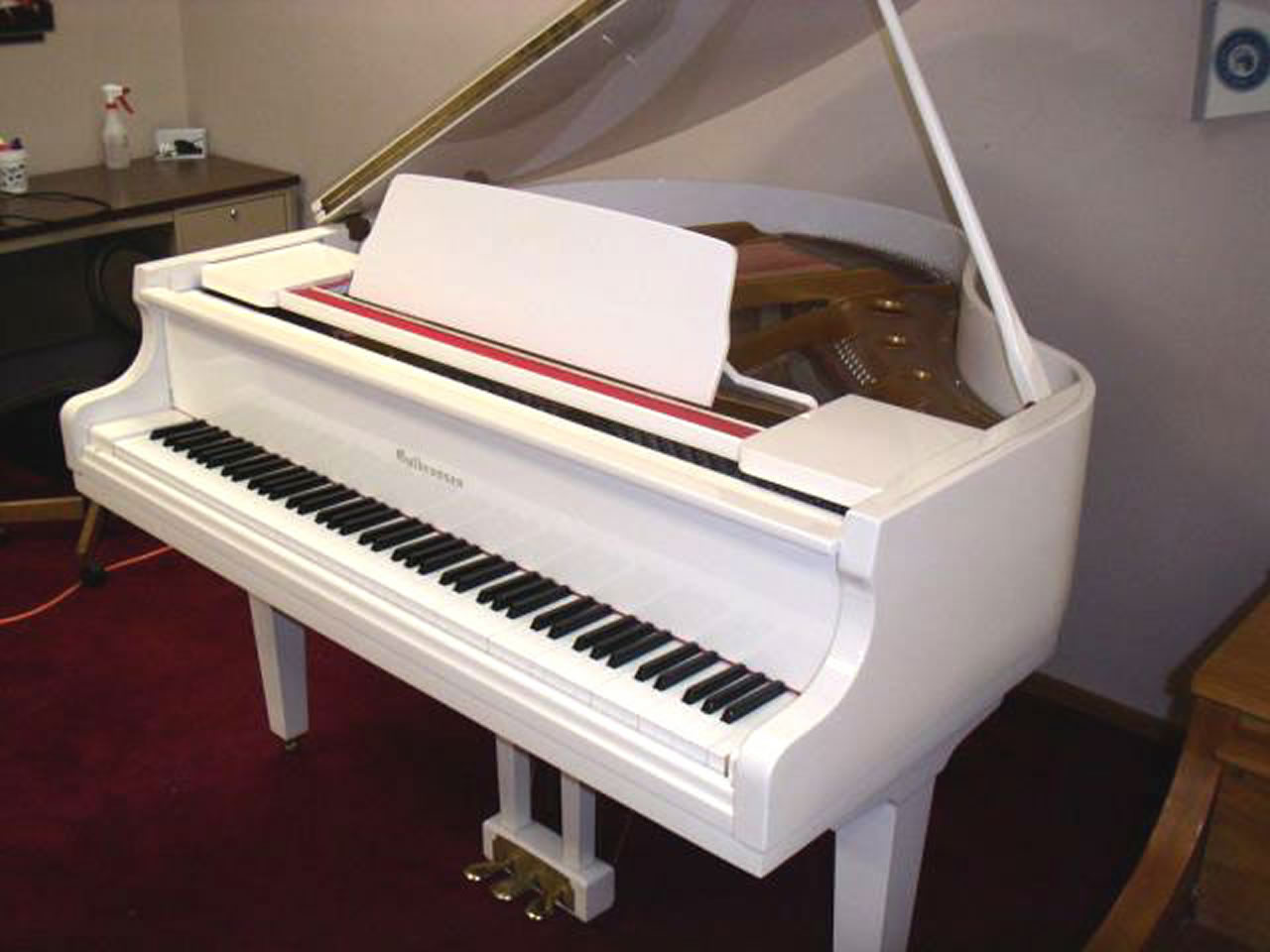 Gulbransen polished white grand for Smallest baby grand piano dimensions